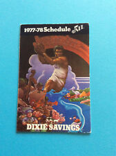 1977-78 New Orleans jazz NBA Basketball Schedule Original Dixie Savings