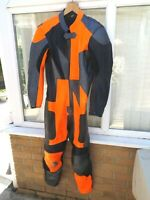 """ONE PIECE MOTORCYCLE LEATHERS,SIZE 42,ORANGE AND BLACK,42"""" CH,38""""W,29""""LEG,CLEAN"""