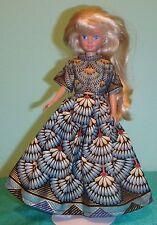 Teal, Gold & Black Fan Print Dress for Skipper Barbie & Hs Musical Dolls Skms48