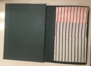"3 Mens Handkerchiefs Pocket Squares 100% Cotton Red Blue Green Stripes White 14"""