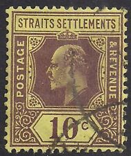 Straits Settlement 1904 - 10 KEV11 10ct Purple Yellow Used SG 132 ( K1162 )