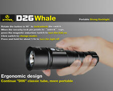 XTAR D26 Whale CREE XM-L2 U3 LED 1100 Lumens 18650/26650 Diving Flashlight Torch