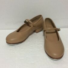 """Bloch ~ Adult """"Tap-On"""" Buckle Tap Shoes, Tan Leather, Leather Sole, Sz 6, 1-1/4"""""""