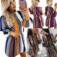 Women's Casual Stand Collar Striped Printed Loose Long Puff Sleeve Mini Dress AU