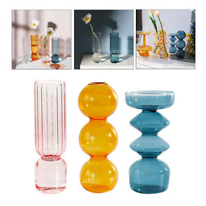 3Pack Modern Clear Glass Bubble Vase Hydroponics Plant Container Ornaments