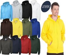 Mens Plain Full Zip Up Hoodie Heavyweight Hooded Sweatshirt Zoodie Hoody UC504