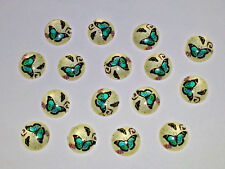 12MM Blue Butterfly Glass Cabochons Dome Flatback Half Round NEW 15PCS. DIY