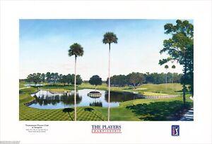 Timothy Barr Tournament Players Club Sawgrass Hole 16 & 17 Golf Lithograph