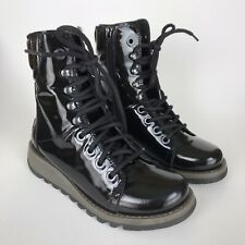 Fly London 36 Black Patent Leather Same Lace Up Boots