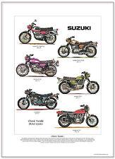 CLASSIC SUZUKI - Fine Art Print A3 size - T20 T500 GT550 GT750 Kettle RE5 GS750