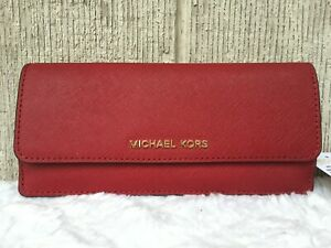 NEW-AU Michael Kors Jet Set Flat Saffiano Leather Wallet CHERRY RED GOLD $128+