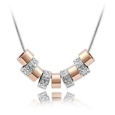 18K White Gold Plated Made with Swarovski Elements 9Square ring layered Necklace