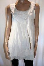 FILO Brand Beige Sleeveless Frill Neck Layered Look Tunic Top Size XL BNWT #TR38