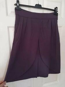 Reiss plum purple tulip layer skirt fits UK 12 Aline   pockets