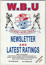 WORLD BOXING UNION NEWSLETTER AND LATEST RANKINGS BOOKLET NOVEMBER 1996