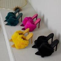 Women's Pointed Peep Toe Faux Fur Furry Mule Stiletto Pump Savage By Cape Robbin