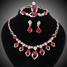 Women Ruby Zircon Crystal Necklace Bracelet Earrings Ring Wedding Jewelry Sets