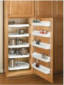 5 Shelf Kitchen Door Storage Set with Mounting Hardware - Almond