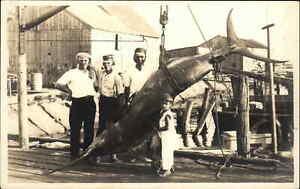 GREAT FISHING SCENE Swordfish or Marlin & People on Dock c1940 RPPC Postcard
