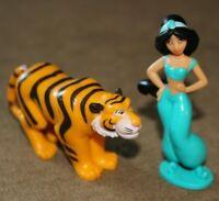 "Jasmine with Rajah Figure set - Vintage Disney Aladdin - 3"" PVC Toy/Cake Topper"