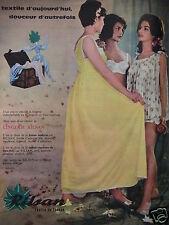 PUBLICITÉ 1960 LINGERIE FEMME RILSAN EN TISSU IMPRIMÉ - ADVERTISING