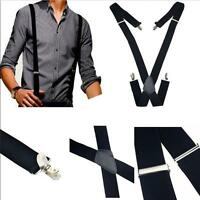 New Mens Black Elastic Suspenders Leather Braces X-Back Adjustable Clip-on Q