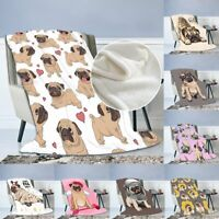 Hippie Pug Soft Warm Flannel Throw Sofa Bed Blanket Office Rug Quilt Washable