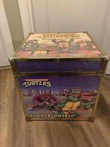 """Vintage teenage mutant ninja turtle wood box chest trunk 16"""" cube storage RARE"""