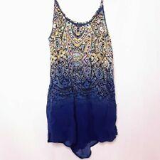 Victoria Secret Pajama Shorts Romper M Spaghetti Straps Low Back Blue Print