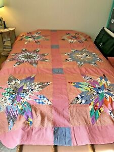"""Vintage 1940s Pieced Stars Quilt TOP 67 x 98"""" Farmhouse Calico and Gingham Red"""