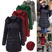 Damen Mode Reißverschluss Kapuze Lange Winter Warme Jacke Outwear Mantel Hoody