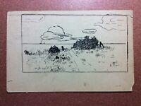 Tsarist Russia postcard TUCKUM -RIGA stamp 1910 Artist K.Vik. Graphics Landscape