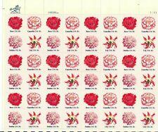 Flower Love Issue Full Sheet of 50 - 18 Cent Postage Stamps Scott 1876-79