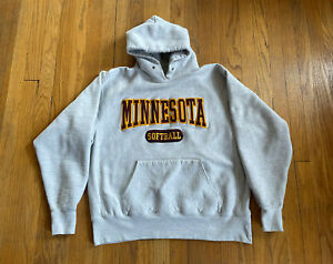 Minnesota Golden Gophers Softball Vtg Cotton Exchange Hoodie Mens L Fits M EUC