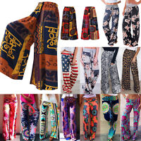 Women Boho Thai Hippie Palazzo Yoga Pants Wide Leg Baggy Trousers HOT Plus Size