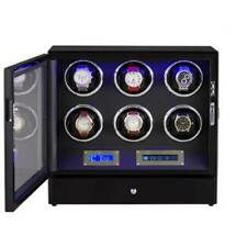 with Led Backlight and Lcd Display 6+2 Watch Winder Box for Automatic Watches