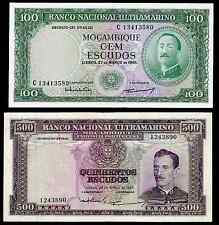 MOZAMBIQUE - 1961 / 1967 ISSUE - 100 & 500 ESCUDOS - P109 & P110 - UNC & VF