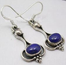 "925 Solid Silver Oxidized Jewellery ! Lapis Lazuli Handmade Earrings 1.7"" New"