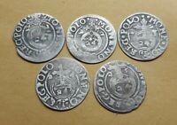 Set 5 pcs. European Medieval Era SILVER coins 1/24 thaler 1621-25 years #2933
