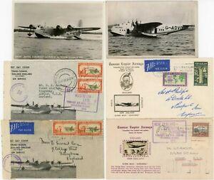 NEW ZEALAND FLYING BOAT ILLUSTRATED 6 ITEMS FIRST FLIGHT FDCs 1940 4 ENVS 2 PPCs