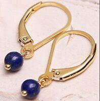 Handmade Natural 10mm Blue Lapis Lazuli Gold Leverbacks Dangle Earrings