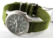 Authentic Seiko SNK803 Mens Watch Automatic Green Canvas Stainless 7S26-06G4