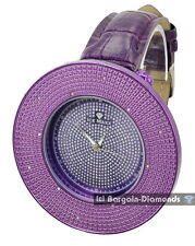 mens big diamond purple ice out clubbing watch purple leather maxx