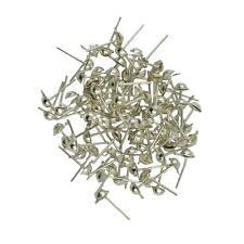 100 Pcs Silver Half Ball Stud Earring Posts Jewelry Making Supplies 12x6mm