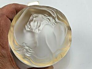 Lalique France Burnished Crystal Daphne Dresser Powder Box, Art Nouveau Nude