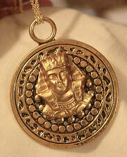 Handsome Large Shiny Bead Rimmed King Tut Egyptian Goldtone Pendant Necklace