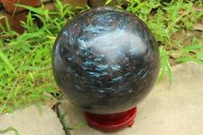 15440g Blue Flash Russian Astrophylite with Garnet and Pyrite Sphere Ball+ STAND
