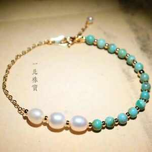 Fashion Natural pearl turquoise 14k gold beads Bracelets gift spread Relief