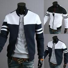 Men Baseball Jacket Stripped Coat Long Sleeve Tops Athletic Outwear Boys Teens