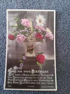 1928 Beagles Real Photographic Birthday Postcard, Vase of Colourful Flowers